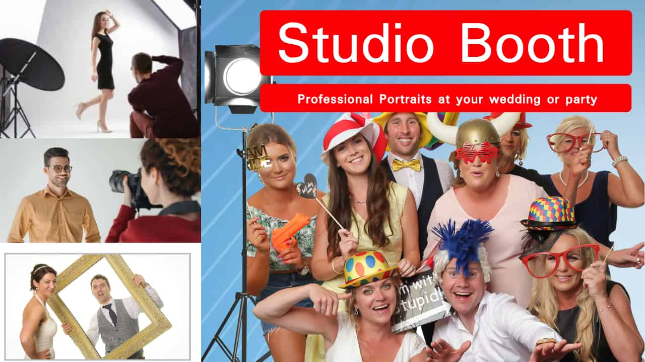 Full Professional Studio Booth at your wedding with instant printing and props